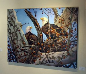 photo of painting of eagles in nest
