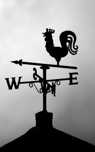 black and white photo of weather vane