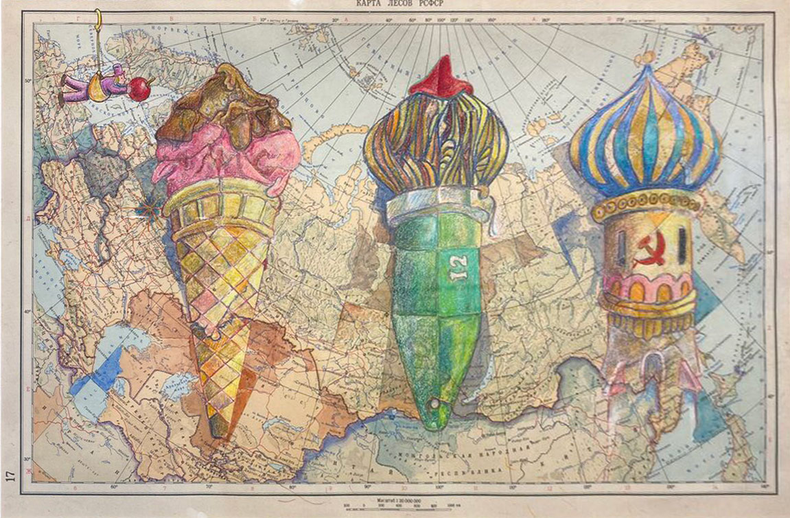 colored penciled ice cream cones drawn on a map of Russia